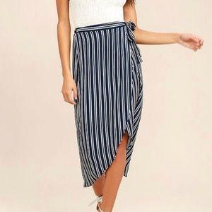Lulu's Navy and White Striped Wrap Midi Skirt